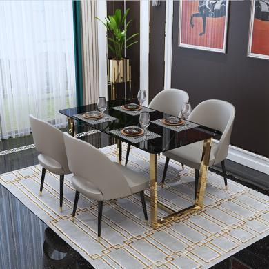 慕梵迪 餐桌 現代輕奢 大理石+不銹鋼鍍金 B0066