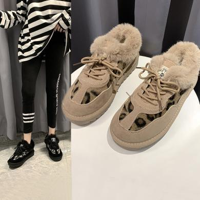 阿么毛毛鞋女冬外穿加絨2019新款時尚豹紋厚底棉鞋一腳蹬平底鞋子21814AZL3857