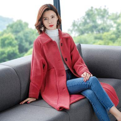 酷比兔 韓版女式大衣外套2019秋冬季新款小顆粒反拼中長款毛呢外套     93803