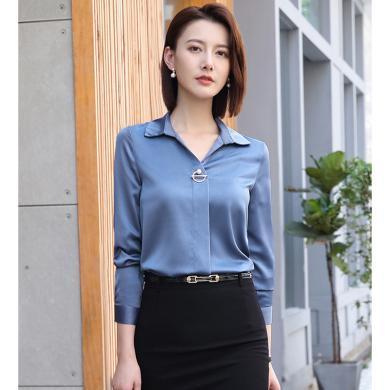 億族 通勤職業襯衫女初秋穿搭新款OL氣質襯衫V領長袖打底衫很仙的上衣
