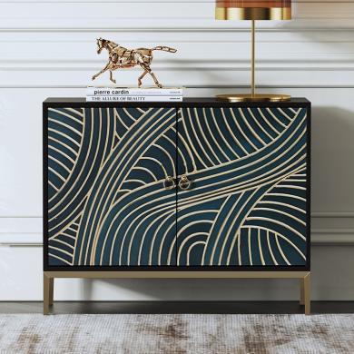 慕梵迪 餐边柜 现代轻奢 实木板+多层实木夹板贴黑胡桃+不锈钢电镀五金 XQ006