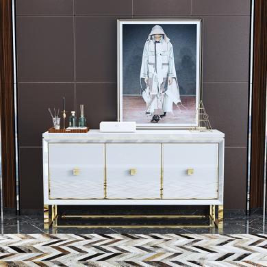 慕梵迪 餐邊柜 現代輕奢 高密度板+高亮光漆+不銹鋼五金 B0036
