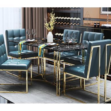 慕梵迪 餐桌 大理石+不銹鋼電鍍五金 B0046