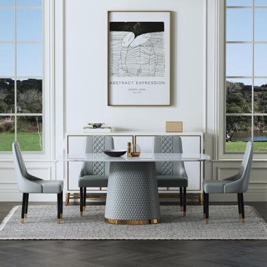 慕梵迪 餐桌 現代輕奢 大理石+皮質 ZD-002