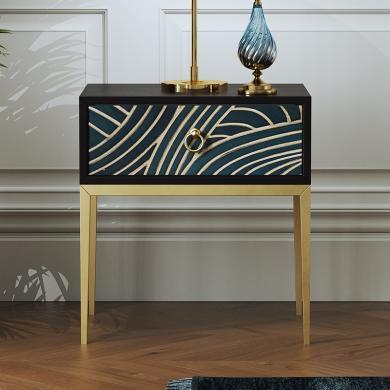 慕梵迪 角幾/床頭柜 現代輕奢 桃花心木+不銹鋼 板木結合 XQ019/GN-007