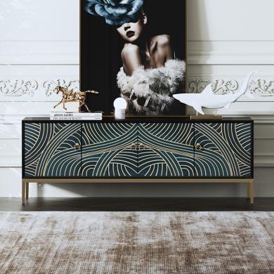 慕梵迪 電視柜 現代輕奢 實木板+多層實木夾板貼黑胡桃+不銹鋼電鍍五金 XQ005