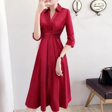 CAVS大擺裙子女紅色連衣裙秋裝2019年新款收腰顯瘦流行長裙子氣質HF5207