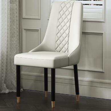 慕梵迪 餐椅 现代轻奢 海棉+优?#39135;?#32420;皮+不锈钢五金电镀钛金 YX-005