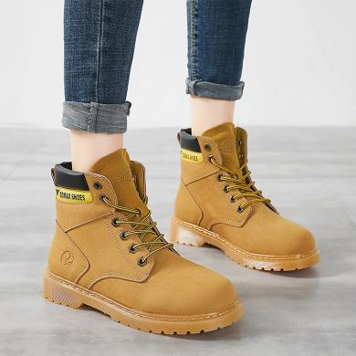 女鞋冬季馬丁靴高幫鞋靴子女工裝鞋大頭鞋戰狼工裝鞋時尚百搭   YGN-8577
