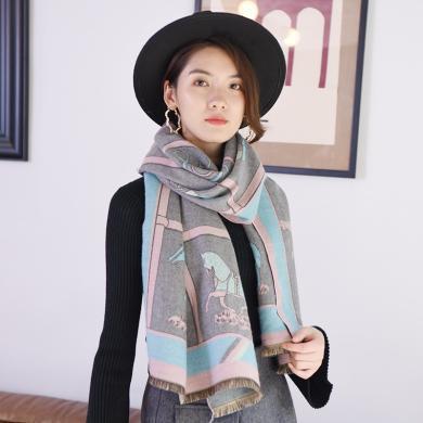修允菲圍巾冬季新款女中長民族風馬車圖案保暖空調兩用圍巾披肩RWJ88006