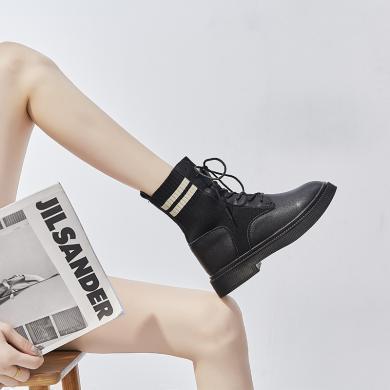 新款英伦风休闲短靴系带潮流百搭马丁靴机车女靴针织短靴FYD1012