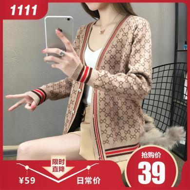 百依恋歌 新款韩版宽松单排扣外套毛衣针织开衫女 4169