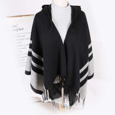 修允菲冬季新款斗篷披肩圍巾女歐美保暖仿羊絨針織流蘇連帽披肩外套R3065