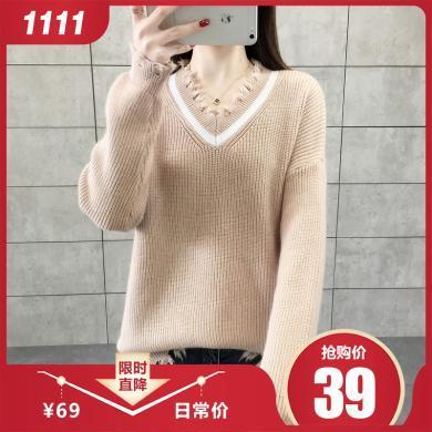 百依戀歌 秋冬新款女裝V領套頭流蘇針織套頭毛衣 5199