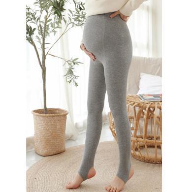 摩登孕媽 孕婦打底褲冬季新款加絨加厚褲襪可調節高腰托腹褲彈力連褲襪女