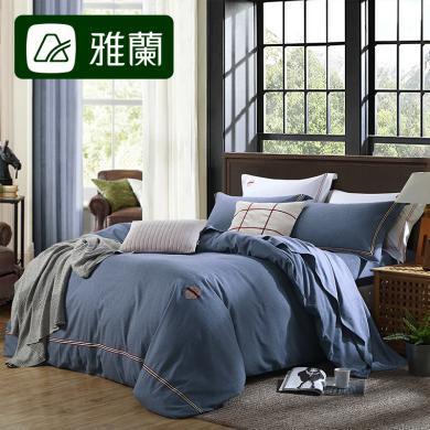 雅蘭家紡全棉磨毛四件套純棉床笠1.8m雙人保暖被套床單床上用品清風素影