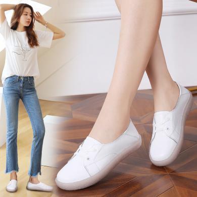 韓版舒適真皮小單鞋系帶女鞋低幫小白鞋 MN857-2
