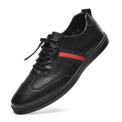 卡帝樂鱷魚男鞋休閑真皮鞋子新款潮流韓版黑色英倫板鞋男6903