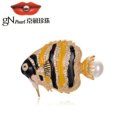 京潤珍珠 子非魚 合金鑲淡水珍珠胸針  白色 時尚
