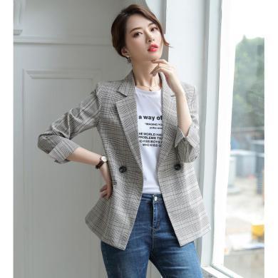 億族 春秋季新款女裝寬松大碼格子西服時尚百搭OL氣質小西裝外套