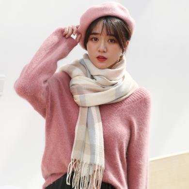 修允菲新款仿羊絨圍巾女士秋冬季保暖圍脖披肩長款格子圍巾Rwj101701