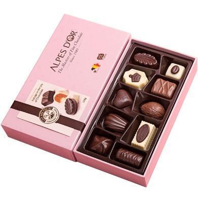 比利時進口精選什錦夾心巧克力108g禮盒裝送禮辦公室休閑零食