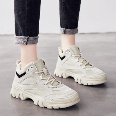 美骆世家女靴英伦风粗跟马丁靴女冬季厚底女鞋短靴运动休?#34892;琘C-MQ1909