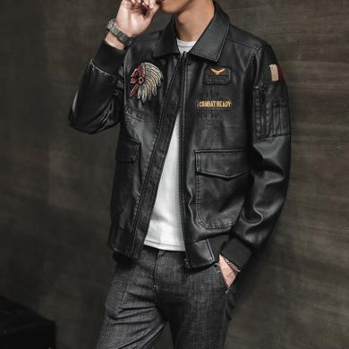 芃拉型男PU皮衣帥哥韓版潮流機車加絨冬季加毛修身皮夾克百搭外套BM2051