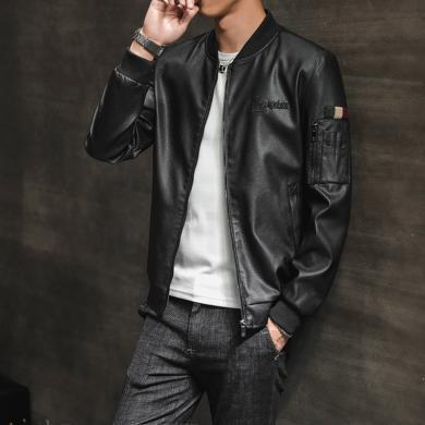 芃拉加毛新款棒球领线条潮男士短款PU夹克皮衣外套BM2032