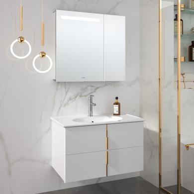 【新品】九牧浴室柜组合洗手洗脸盆洗漱台轻奢挂壁式浴室柜A2257套餐(包安装)