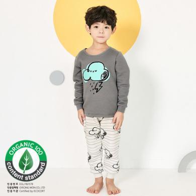 unifriend秋冬儿童保暖内衣套装三层夹棉4岁男女孩两件套