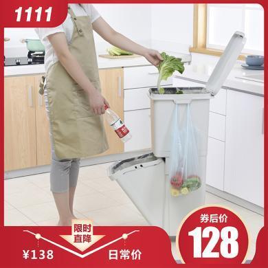 百露35L雙層垃圾分類垃圾桶廚房大號干濕分類出日本垃圾箱