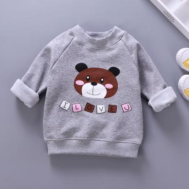 易卡通寶寶保暖衣童裝加絨衛衣新款 兒童保暖衛衣冬季寶寶衣服套頭衫73cm-130cm童裝W07