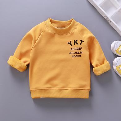 易卡通宝宝保暖衣童装加绒卫衣新款 儿童保暖卫衣冬季宝宝衣服套头衫73cm-130cm童装W03