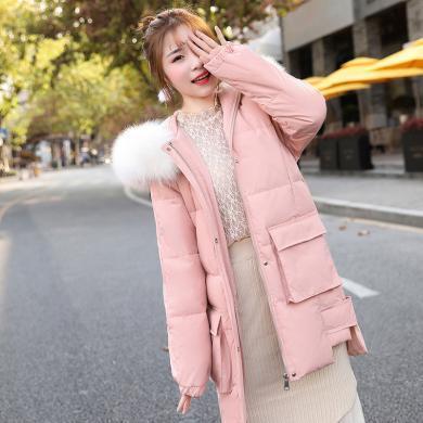 百依恋歌 真狐狸毛大毛领时尚羽绒服女冬季韩版中长款显瘦鸭绒保暖外套 58679