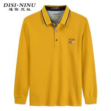 迪仕尼奴秋冬新品男士长袖针织T恤纯色翻领POLO黄色商务打底衫825A
