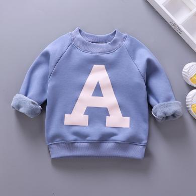 易卡通寶寶保暖衣童裝加絨衛衣新款 兒童保暖衛衣冬季寶寶衣服套頭衫73cm-130cm童裝W02