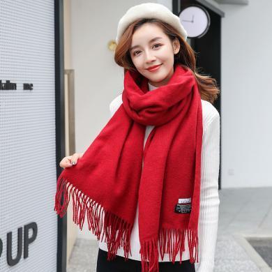 【支持購物卡】韓國let's diet 圍巾女冬季長款加厚韓版披肩兩用百搭羊絨圍巾 #多色可選