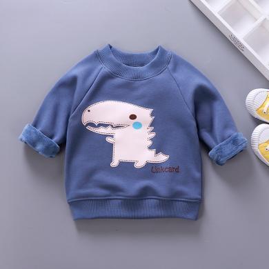 易卡通寶寶保暖衣童裝加絨衛衣新款 兒童保暖衛衣冬季寶寶衣服套頭衫73cm-130cm童裝W01