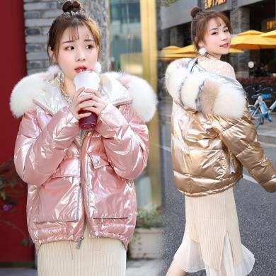 百依恋歌 时尚宽松中长款冬季亮色短款休闲保暖羽绒服女 58639