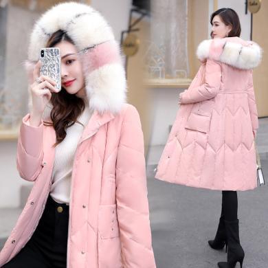 百依戀歌 冬季新款女裝保暖輕薄派克服大毛領中長款羽絨服女 58609