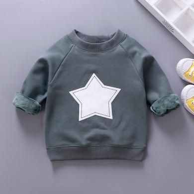 易卡通宝宝保暖衣童装加绒卫衣新款 儿童保暖卫衣冬季宝宝衣服套头衫73cm-130cm童装W04