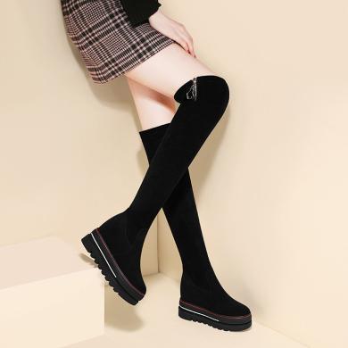 古奇天伦  冬季新款 圆头厚底女靴侧拉链纯色长靴 防水台女鞋子GQ9783