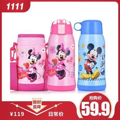 迪士尼儿童保温杯带吸管宝宝水壶不锈钢杯子幼儿园宝宝两用防摔水杯