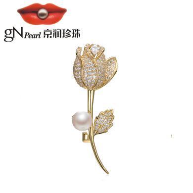 京潤珍珠 玫瑰之約  合金鑲淡水珍珠胸針 9-10mm 白色饅頭形