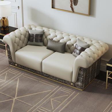 慕梵迪 沙发 现代轻奢 实木框架+高回弹海绵+皮+五金脚 S-056 组合沙发