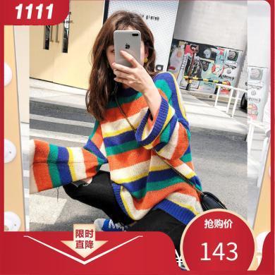 七格格毛衣女寬松外穿2019新款秋季套頭條紋時尚長袖韓版洋氣上衣