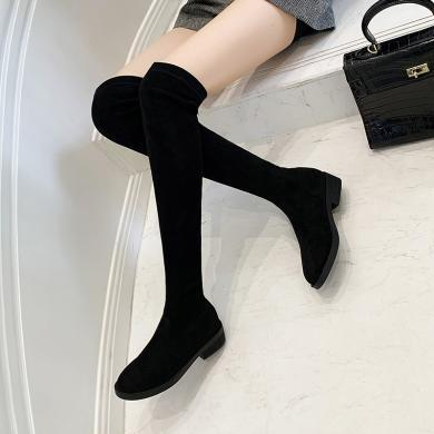 ZHR過膝靴女粗跟高筒網紅瘦瘦靴秋季新款長筒靴時尚彈力長靴