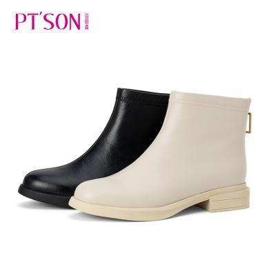 百田森商場同款馬丁靴女短款2019新款圓頭小短靴女潮PYQ82160