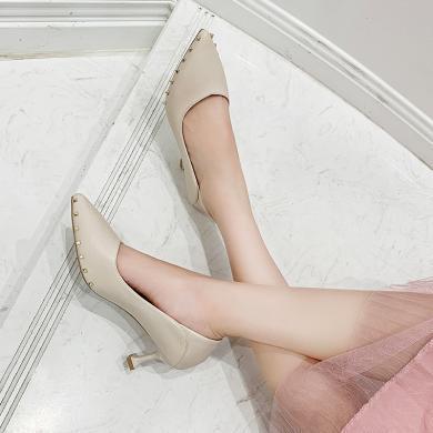 ZHR秋季法式少女高跟鞋女細跟新款百搭性感ins仙女風尖頭單鞋